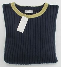 LADIES MARKS AND SPENCER DARK NAVY RIBBED JUMPER WITH GOLD GLITTER TRIM SIZE 20