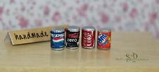 7112 - 4 x Getränke-Dosen Miniaturen für Puppenhaus Puppenstube 1:12 Handgemacht
