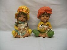 "Home Interior Homco""Htf""Vinta ge""1974#293""Prec ious Little Boy & Girl Statues/Pets"
