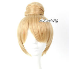 Anime For Tinker Bell Blonde 30CM Short Women Cosplay Fancy Full Wig With Buns