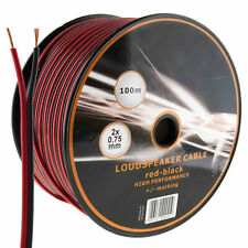 100m Twin Speaker Cable 2 x 0.75mm Red/Black Loud Wire CCA Car Audio HiFi Sound
