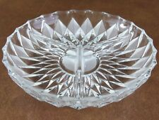 Vintage Lenox Frosted Crystal Diamond Mist 3-Part Divided Relish Dish Tray