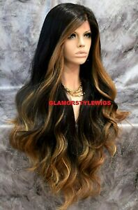 360 Free Part Human Hair Blend Lace Front Wig Long Ombre Brown Golden Blonde Mix