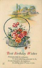 Multi View DB Postcard K053 Best Birthday Wishes Rose Basket Flowers House Lake