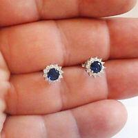 2 TCW Round Blue Sapphire & Diamond 14k White Gold Finish Cluster Stud Earrings