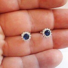 677609b43 2 TCW Round Blue Sapphire & Diamond 14k White Gold Finish Cluster Stud  Earrings