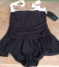 AQUA GREEN Size S 4/6 One Piece Ruffled Black with white Trim Bathing Suit NWT