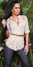 NEW SEXY LADIES COTTON SHIRT w BROWN BELT & LACE SHOULDERS - BEIGE 6 8 10 12 14