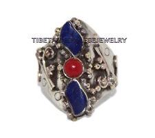 Adjustable Lapis Ring Coral ring Gypsy ring Tibetan ring Tibet Ring RB17