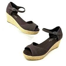 TOMS Womens Size 6.5 Mocha Canvas Peep Toe Wedge Rope Wrapped Heels Ankle Strap