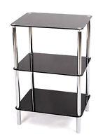 3TIER GLASS SHELF UNIT. BLACK GLASS CHROME FRAME. SIDE/END TABLE. HOME DISPLAY