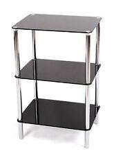 3tier vetro mensola unità. in Vetro Nero Chrome Frame. LATERALE / fine della tabella. vengono visualizzate Home