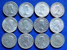 1953 - 1964   ELIZABETH II  Canada 10  CENT Silver  COINS KM# 51 ALL SET