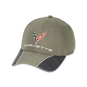 C8 Corvette Olive Green Hat with Carbon Fiber Accent Bill