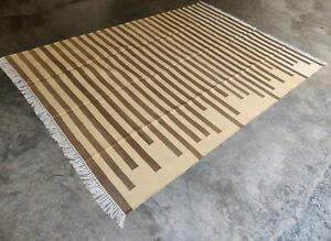 Cotton Flat Weave Rag Rugs Handwoven 6'x9' Yellow Brown Striped Yoga Rug Dhurrie