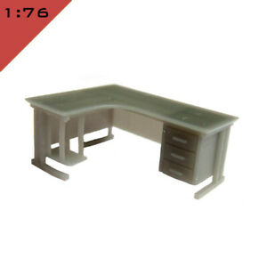 1x 3D printed OFFICE CORNER DESK WITH DRAWERS 1:76, OO Model Miniature Interior