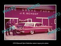 OLD LARGE HISTORIC PHOTO OF PLYMOUTH SUBURBAN STATION WAGON 1959 PRESS PHOTO