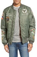 NWT Schott NYC Souvenir Flight Bomber Patch Jacket in Sage Army Green sz XL