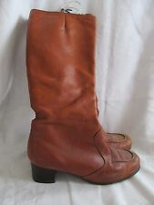 Vintage Leather Boots Trotters Olde Maine Sz. 9 M Brown Zip Up Knee High