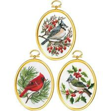 JANLYNN Embroidery Kit 3 PC WINTER BIRDS Includes FRAMES Complete Kit
