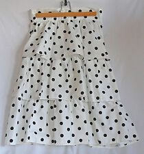 Three-tiered cotton skirt, size 10, white with black polka dots PRICED TO SELL
