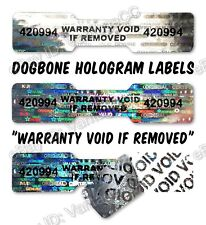 990x DOGBONE Security Hologram Stickers NUMBERED, 45mm x 10mm, Warranty Labels