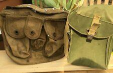 Ww2 Lot Of 2 Canvas Vintage Military bags original 1 Od Green 1 Khaki