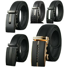 Men's Dress Belt Genuine Leather Adjustable Automatic Buckle Ratchet Belt
