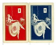 "Two Single Vintage ID Named, ""Idle Hour/Cigarette Girl"", Playing Card WS8-33 A,B"