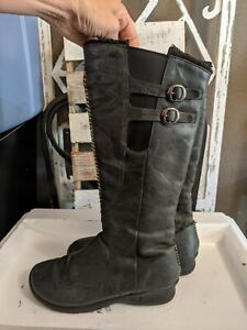 Keen Bern Baby Bern Knee High Tall Boots Black Leather Side Zip Womens Size 7
