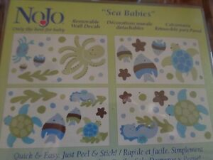 NoJo~SEA BABIES~Decorative Wall Decals~Turtle Octopus Fish~Removable Free S/H
