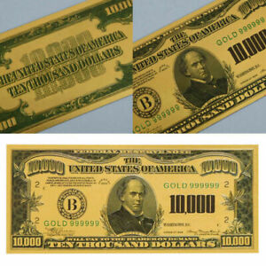 $10000 Dollar Bill Money Gold Foil Plated Banknote Collection Money Gift