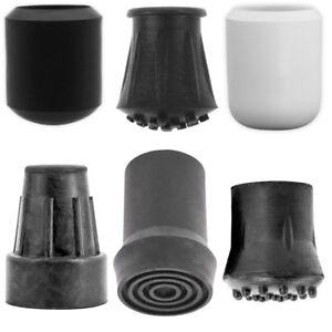 ANTI-SKID 19mm RUBBER FERRULE TIPS Black White Walking Stick Chair Table Leg End