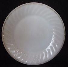"Anchor Hocking Fire King Oven Ware Swirl Pattern Milk Glass 9"" Plate Gold Trim"