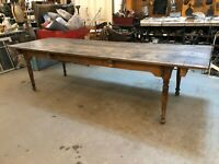 Antique Rustic Distressed Harvest Table with Square Head Nails and Great Patina