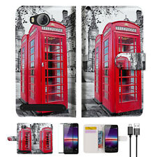 British phone Booth Wallet TPU Case Cover For HUAWEI Y3 II 2 -- A025