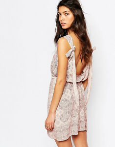 Faithfull Luci Pink floral Backless Rope Belt Mini Beach Summer Dress Cover Up
