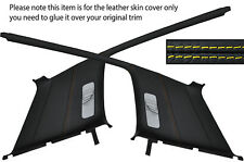 YELLOW STITCH 2X REAR C PILLAR LEATHER COVER FITS VW GOLF MK3 JETTA 91-98 5 DOOR