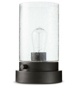 Modern Industrial Style Uplight Desk Lamp Bubbled Glass Home Office Black