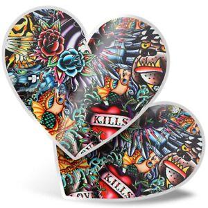 2 x Heart Stickers 15 cm - Old School Tattoos Vintage  #2506