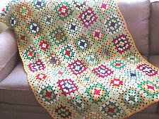 VTG Granny Square Crochet Afghan Lap Blanket Throw Knit 40x72 Quilt Green Gold