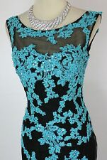 Tony Bowls Size 4 Mermaid Lace Black Turquoise Long Gown Prom Formal $480 Dress
