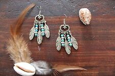 Gorgeous Handmade Turquoise & Silver Tibetan Feather Hanging Dangle Earrings