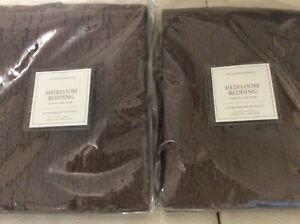 Restoration Hardware Two (2) Heirloom Quilted King Shams Sable Brown NWT!