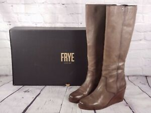 Frye - Leather Tall Shaft Wedge Boots - Emma Wedge - Gray - 9.5 M