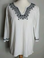 Fat Face Size 12 White Black Embroidered Cotton Tunic loose top 3/4 long sleeves