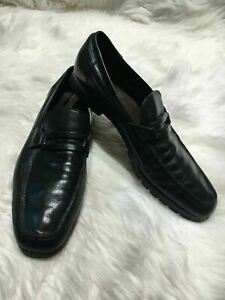 Salvatore Ferragamo men loafers size 9 black shoes  b11