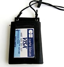 Black Leather ID CARD Holder Neck Travel Work Pouch Press Wallet Strap Men Lady