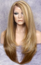 HEAT OK Lace Front WIG Realistic Blonde mix Layered Straight Hairpiece WU 2216