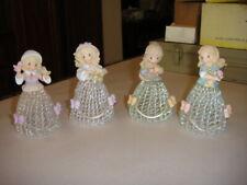 4 - 2001 Precious Moments Seasons Spun Glass Bells Beautiful Ladies
